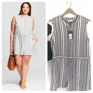 Universal Thread Striped Plus Size Romper! NWT!